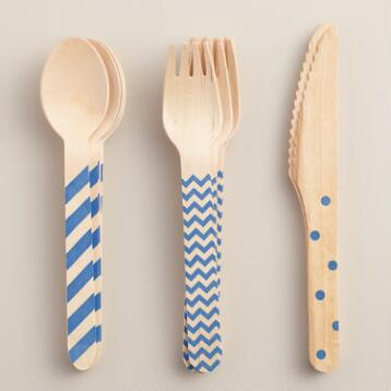 Royal Blue Stamped Wood Cutlery Set