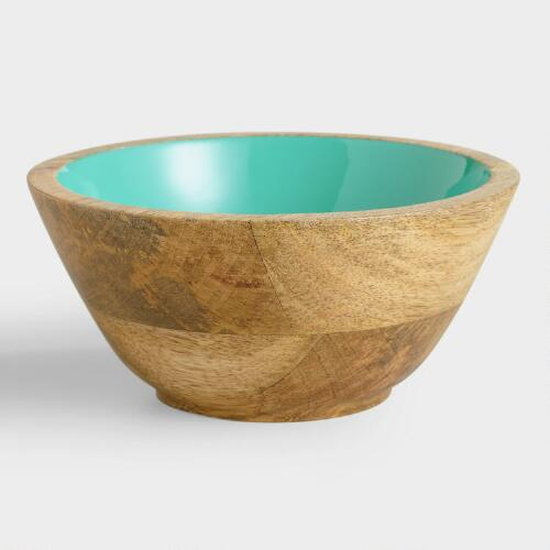 Small Lagoon Blue Wood Salad Bowl, Set of 2