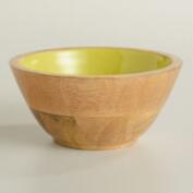 Small Apple Green Wood Salad Bowl, Set of 2