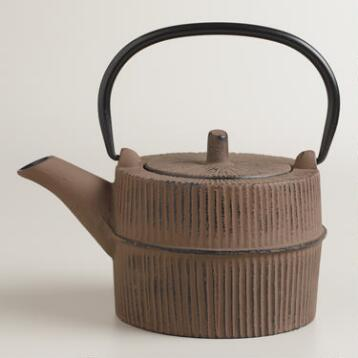 Bamboo Gray Cast Iron Teapot