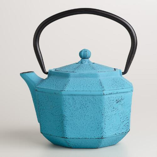 Blue Geometric Cast Iron Teapot