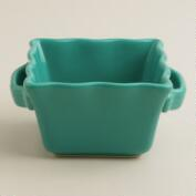 Mini Lagoon Blue Square Bakers, Set of 4