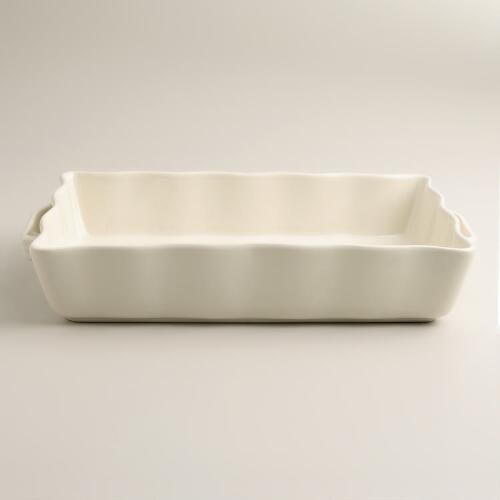 Large Ivory Ceramic Baker