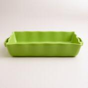 Large Green Ceramic Baker