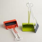 Mini Coral Smiley Dustpan with Broom