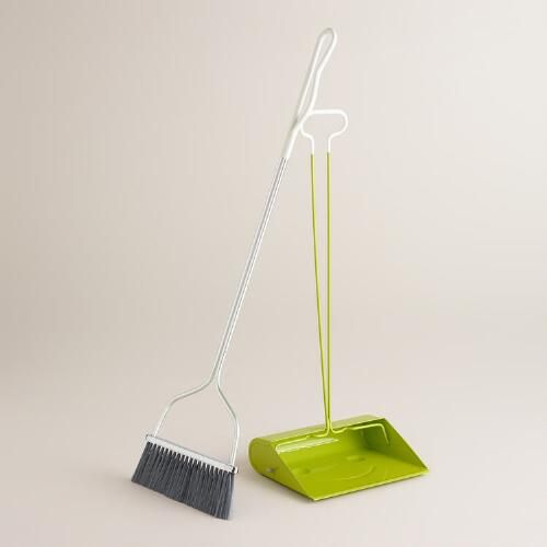 Apple Green Long Handle Smiley Dustpan