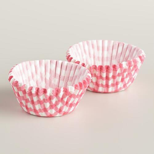 Mini Bright Pink Gingham Baking Cups, 75-Count