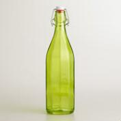 Green Glass Bottle with Clamp Lid, Set of 2