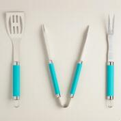 Lagoon Blue Metal Barbecue Utensil Set, 3-Piece