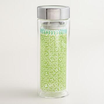 Green Tile Glass Tea Carafe