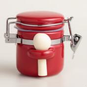 Mini Red Ceramic Canisters with Spoons, Set of 6