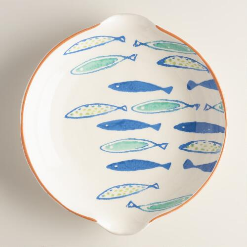 Round Mod Fish Terracotta Open Baker