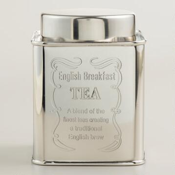 English Breakfast Stainless Steel Tea Tin