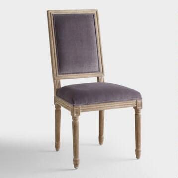 Plum Velvet Paige Square-Back Dining Chairs, Set of 2