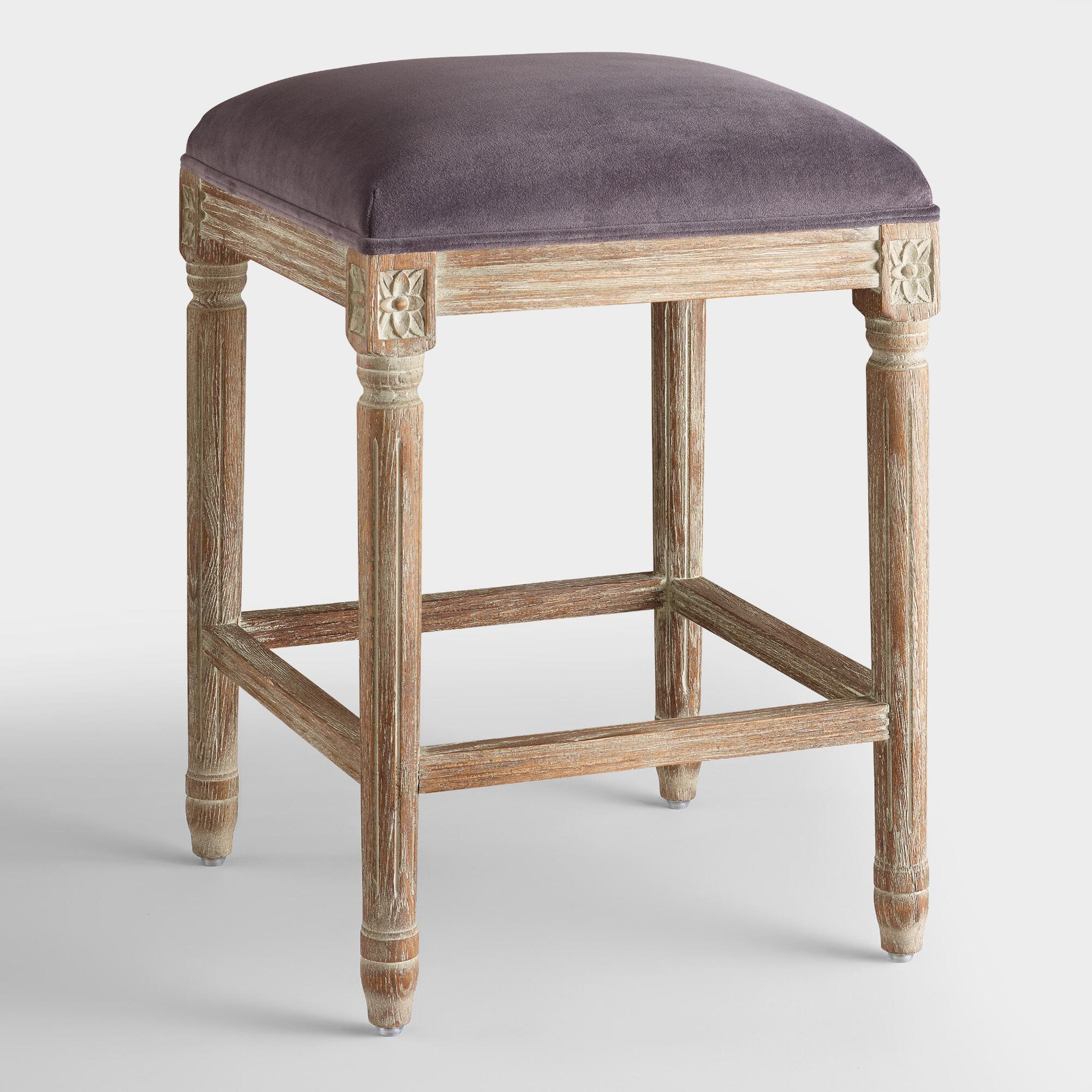 Backless Bar Stools ~ Plum velvet paige backless counter stool world market