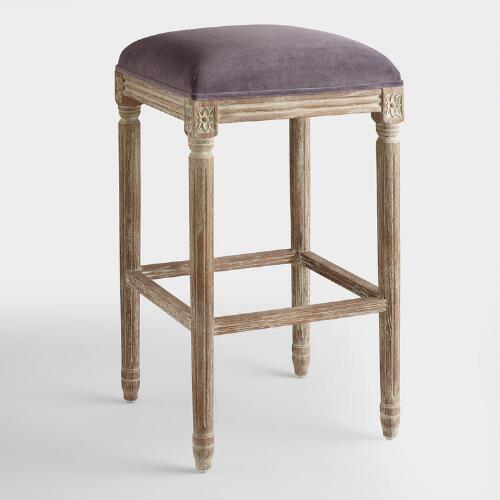 Plum Velvet Paige Backless Barstool