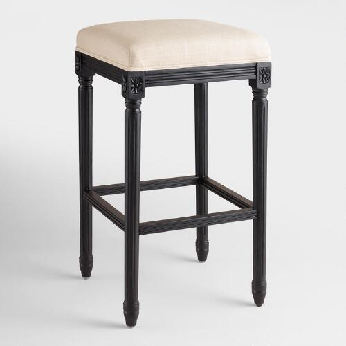 Linen and Black Frame Paige Backless Barstool