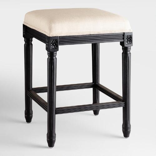 Linen and Black Frame Paige Backless Counter Stool