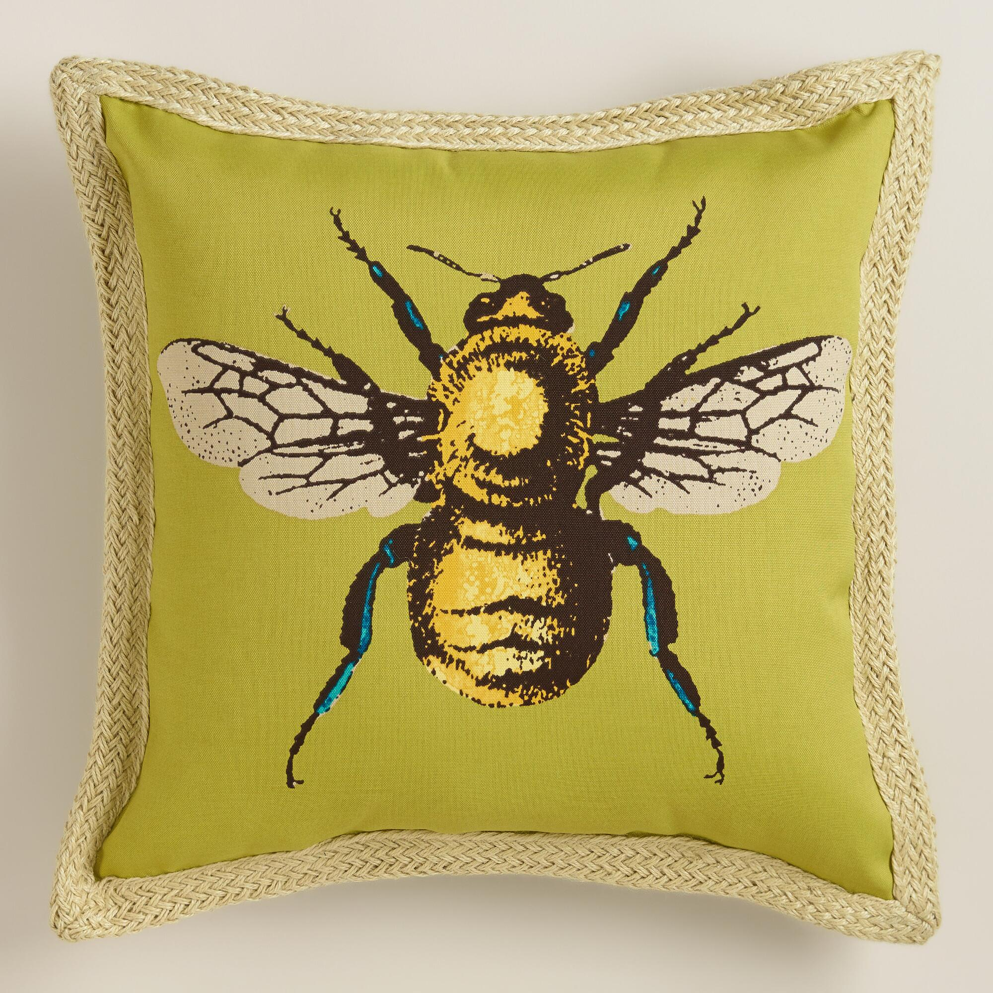 Puzzle Outdoor Decorative Pillow : Bee Outdoor Throw Pillow World Market