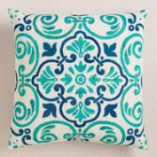 Turquoise Tiles Outdoor Throw Pillow