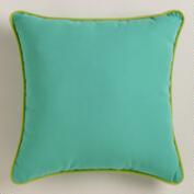 Aqua Outdoor Throw Pillow with Piping