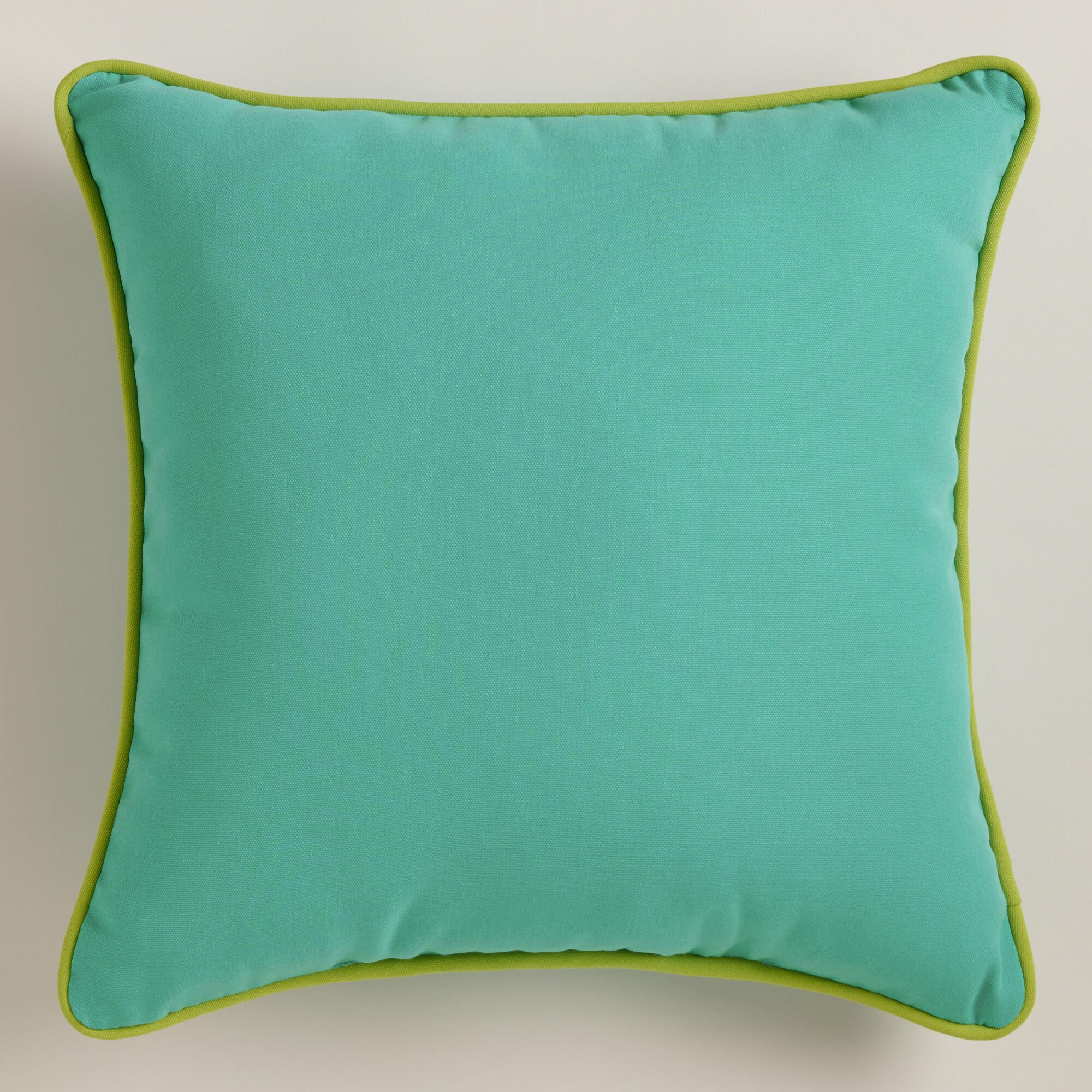 Aqua Outdoor Throw Pillow with Piping World Market