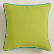 Green Outdoor Throw Pillow with Piping