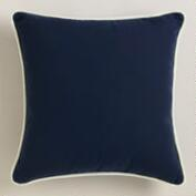 Dark Blue Outdoor Throw Pillow with Piping
