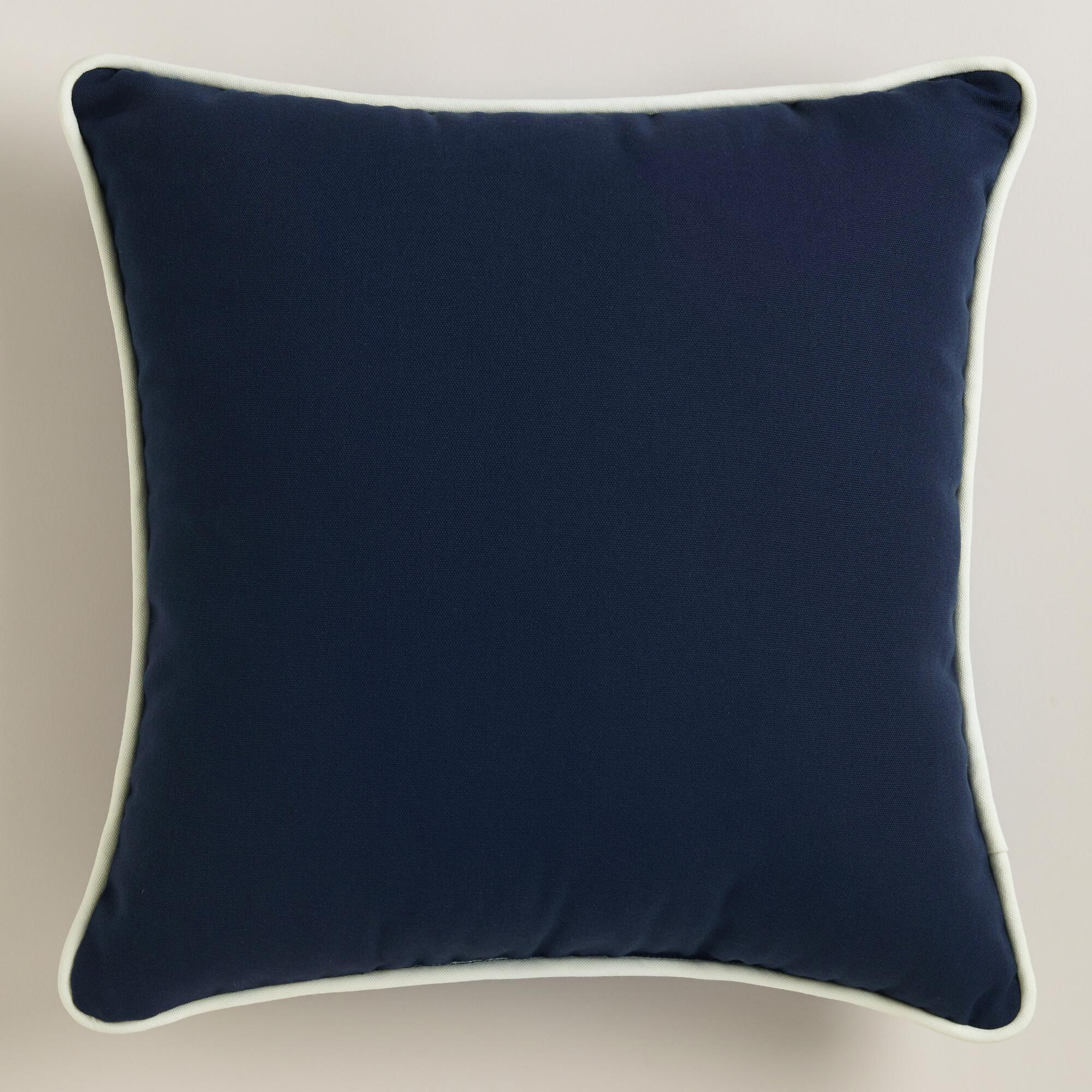 Dark Blue Outdoor Throw Pillow with Piping World Market