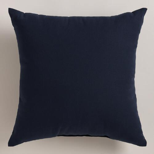 Dark Blue Outdoor Throw Pillow