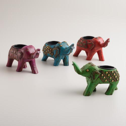 Wood Elephant Tealight Candleholders, Set of 4
