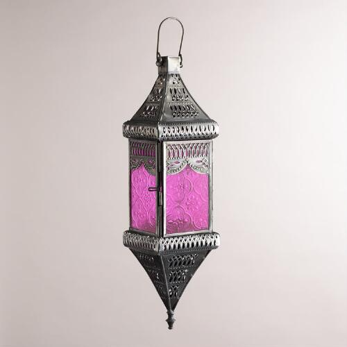 Small Pink Square Hanging Lantern