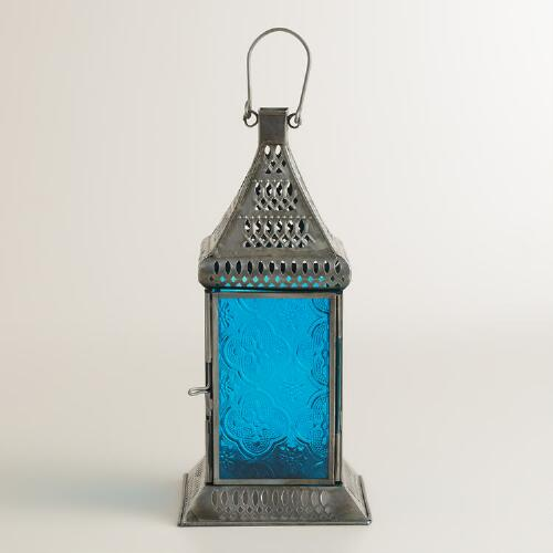 Small Blue Tabletop Lantern