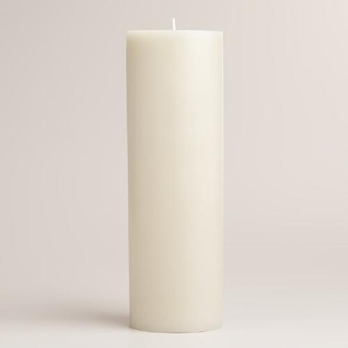 "Gray 3""x9"" Unscented Pillar Candle"