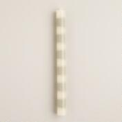 Gray Striped Unscented Taper Candles, Set of 2