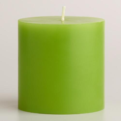 "Green 3""x3"" Unscented Pillar Candle"