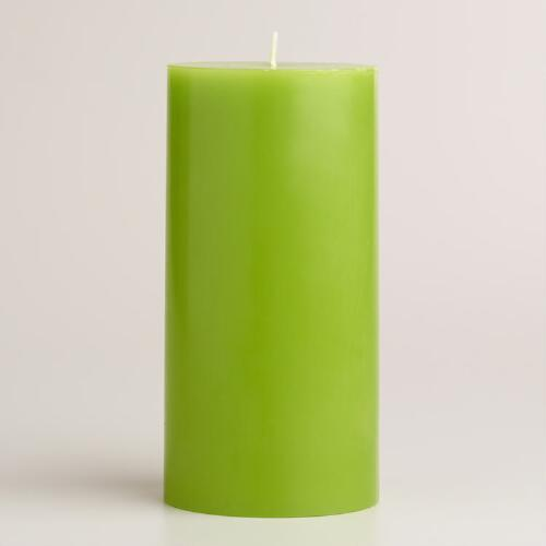 "Green 3""x6"" Unscented Pillar Candle"