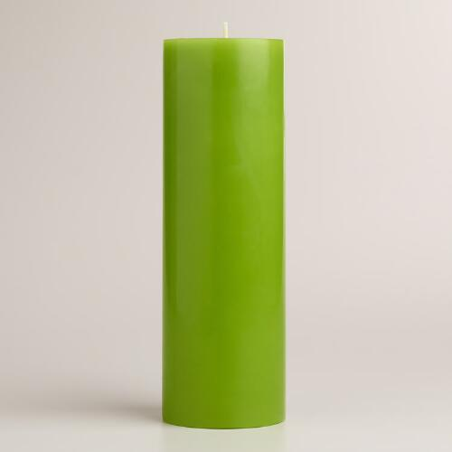 "Green 3""x9"" Unscented Pillar Candle"
