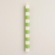 Green Striped Unscented Taper Candles, Set of 2
