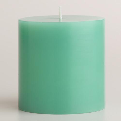 "Blue 3""x3"" Unscented Pillar Candle"