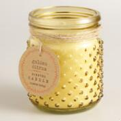 Yellow Golden Citrus Glass Hobnail Jar Candle