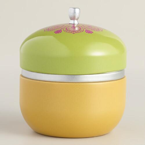 Sparkling Tangerine Color Block Candle Tin
