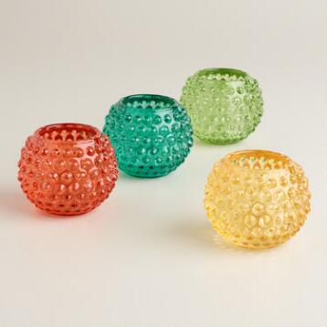 Round Pressed Glass Votive Candleholders, Set of 4