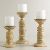 Hand-Painted Wood Candleholder