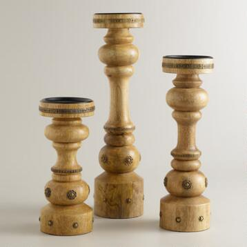 Natural   Wood Pillar  Candleholder