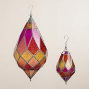 Warm Multicolor Hexagon Teardrop Hanging Lantern