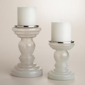 White Opaque Glass Pillar Candleholder