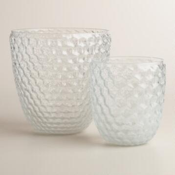 White Ombre Glass Honeycomb Hurricane Candleholder