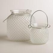 White Opaque Glass Honeycomb Lantern