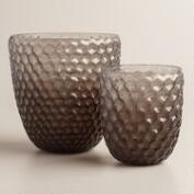 Gray Ombre Glass Honeycomb Hurricane Candleholder
